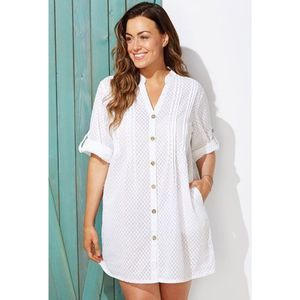 Swimsuits For All White Button Up Swim Coverup NWT